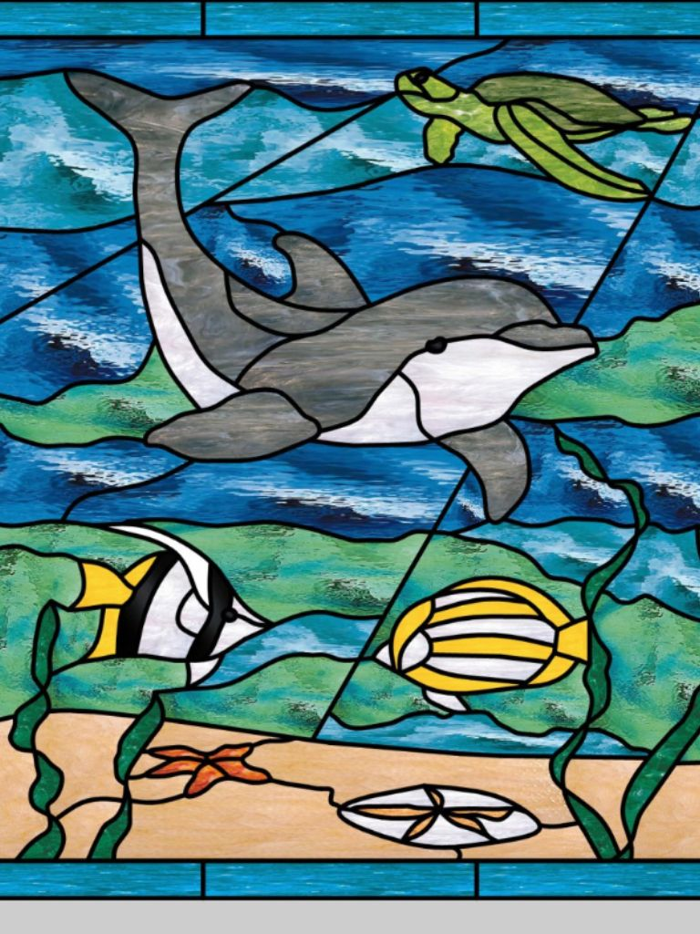 Beach theme decoration stained glass window panels arts crafts - Craft Stained Glass Artstained Glass Windowstropical Stained Glass Panelsglass