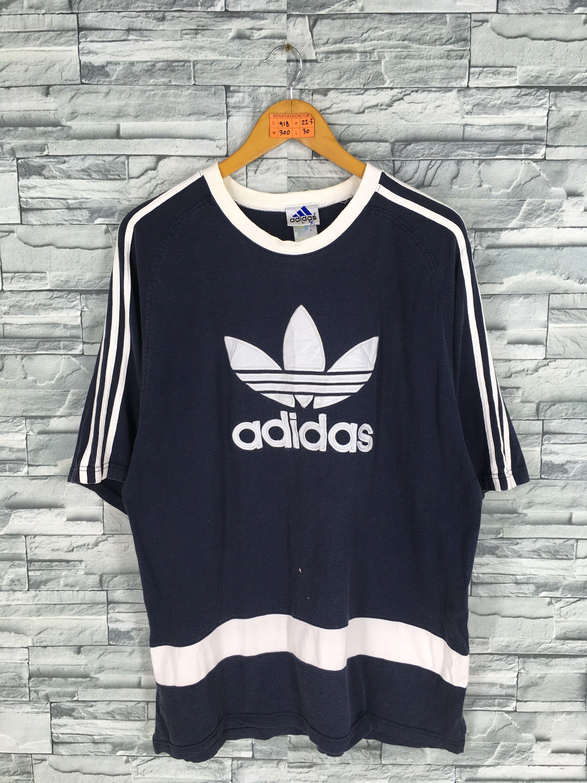 782adab6dd999 Vintage ADIDAS Big Logo Trefoil Blue T shirt Large 90's Sport Adidas ...