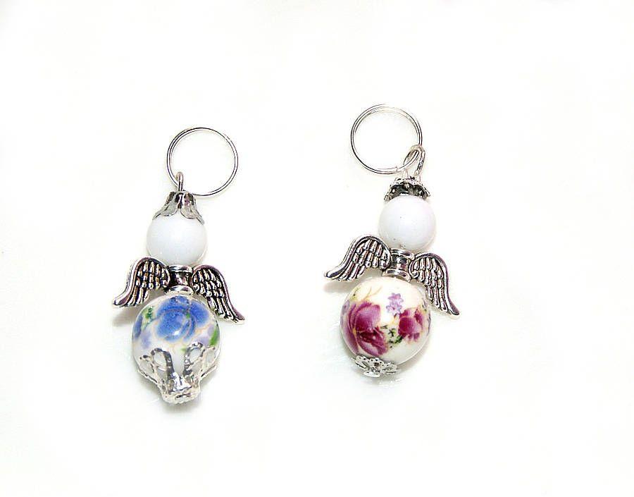 Engel Perlen Anhänger weißes Porzellan 4cm pink blau Rosenmuster ...