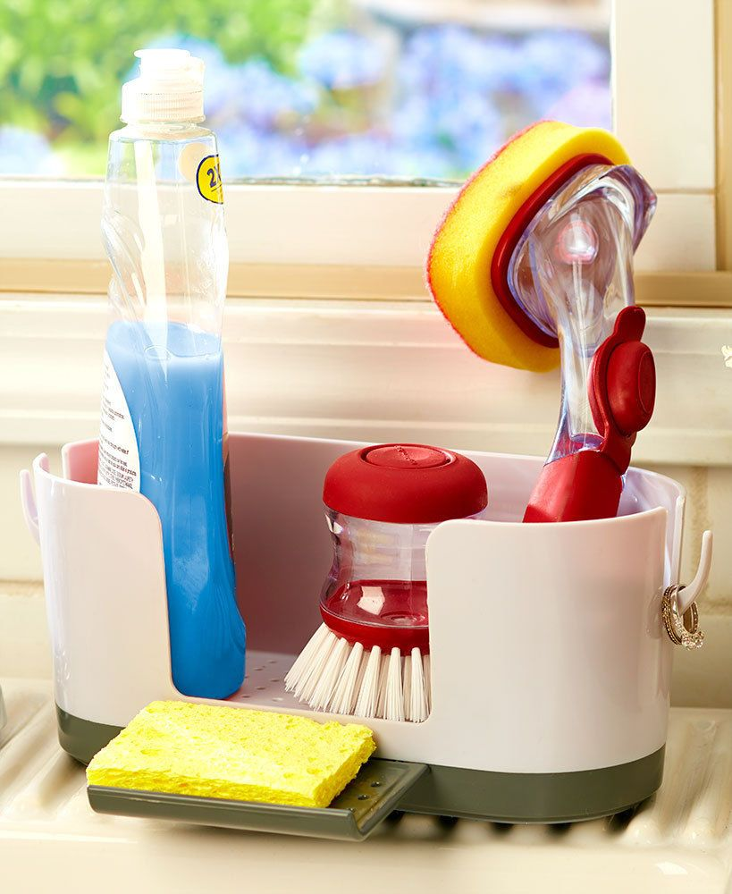 Kitchen Sink Caddy Organizer With Ring Holder Holds Your Dish Sponge Soap Brush