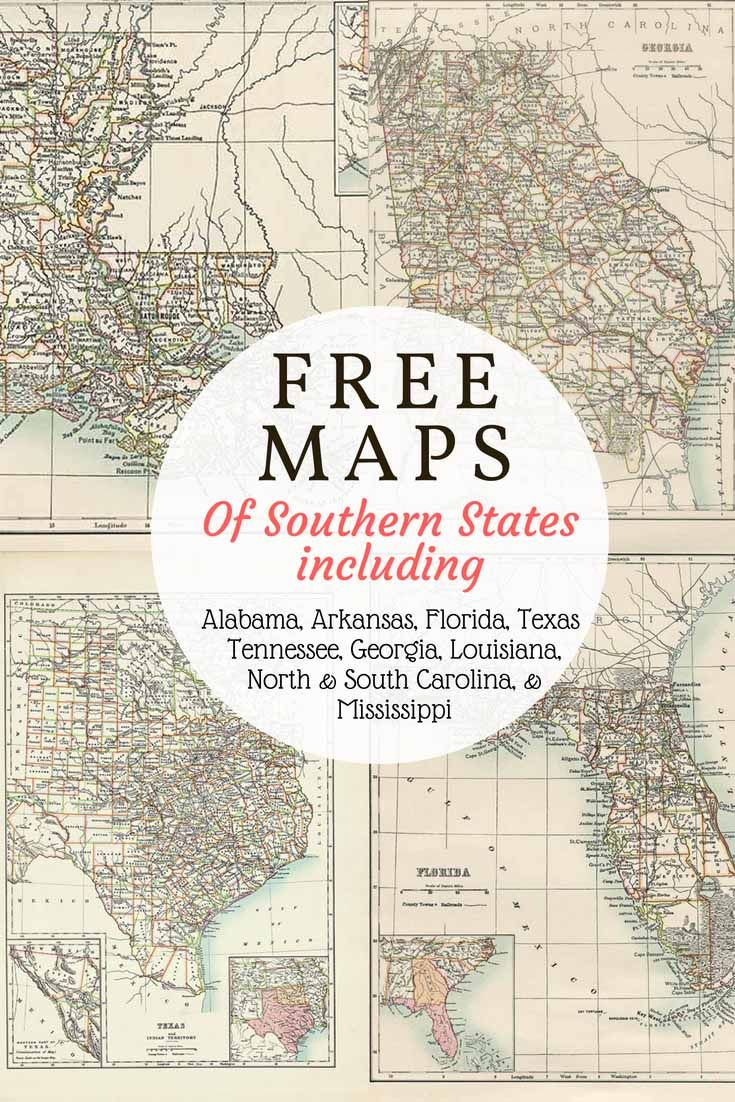 Free downloadable Southern USA State Maps from 1885. Includes old ...