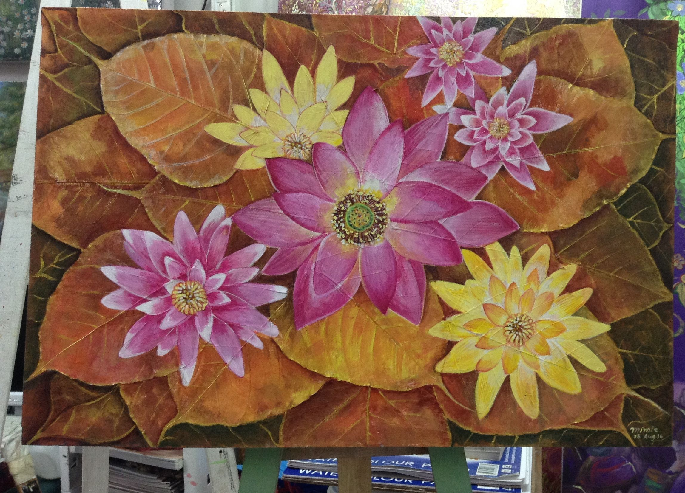 Original Hand Painted Acrylic Painting Lotus Flower On A Canvas Made