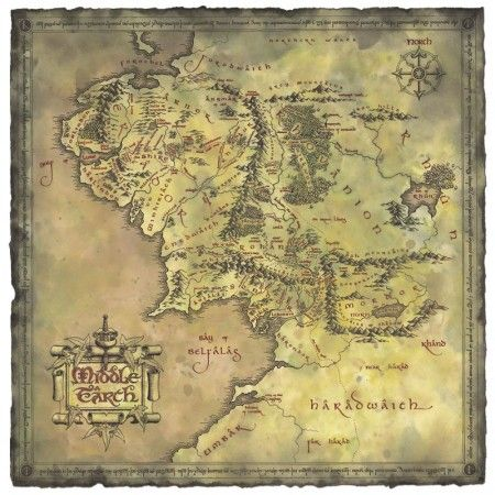 Poster affiche le seigneur des anneaux lord of the rings carte terre du milieu le seigneur des - Tatouage seigneur des anneaux ...