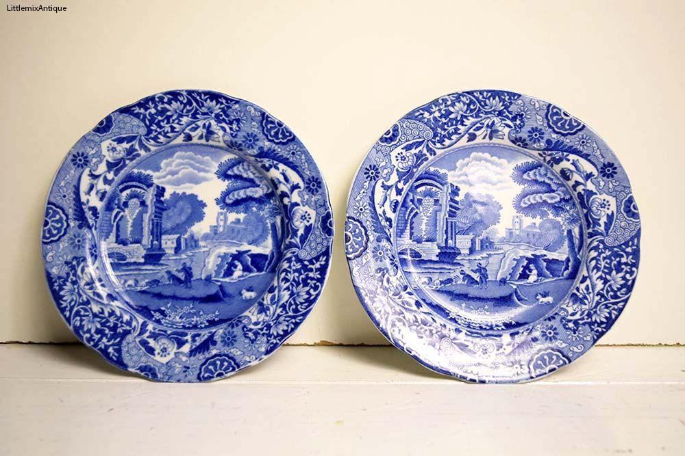 Set Of 2 Vintage 1980 S Copeland Spode S Italian England Small Dessert Side Cake Plates Retro Classic Blue And White English Tableware Blue White Asian Art Antiques