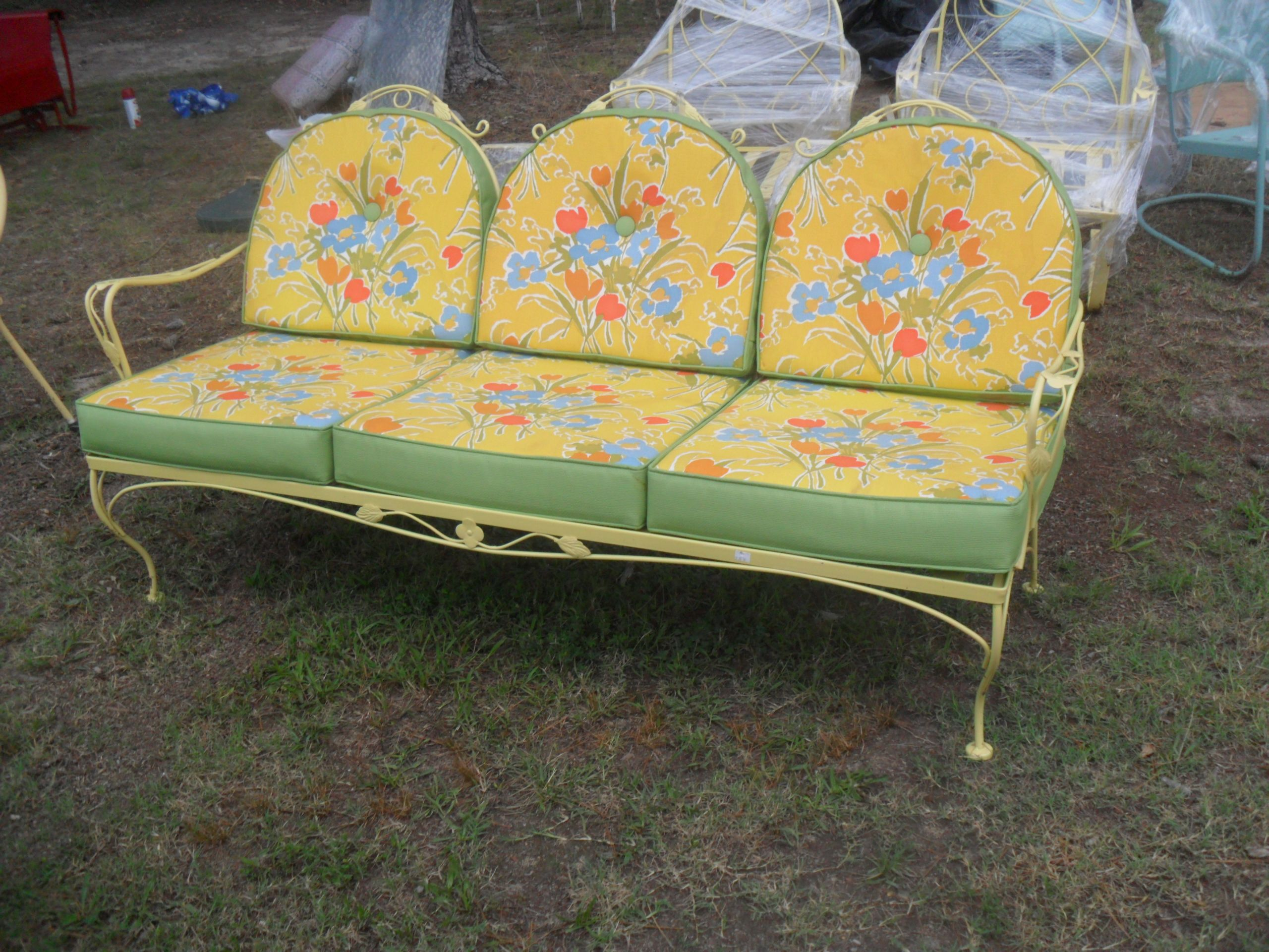 Early Ornate Fancy Vintage Metal Settee With Cushions Home Decor