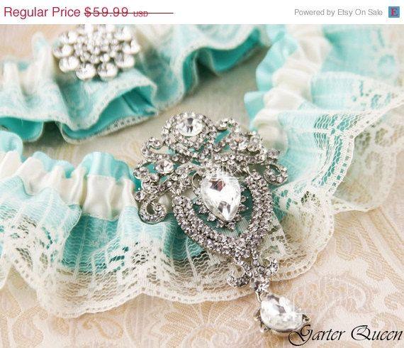 Wedding garter set Lace garter Bridal garter set Aqua Blue garter Something Blue