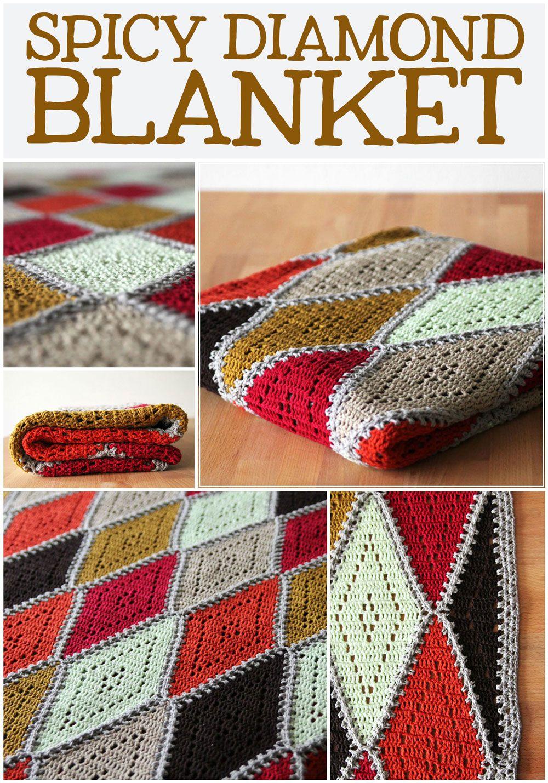 Crochet pattern: Spicy Diamond blanket - Haak maar Rraak | Free ...