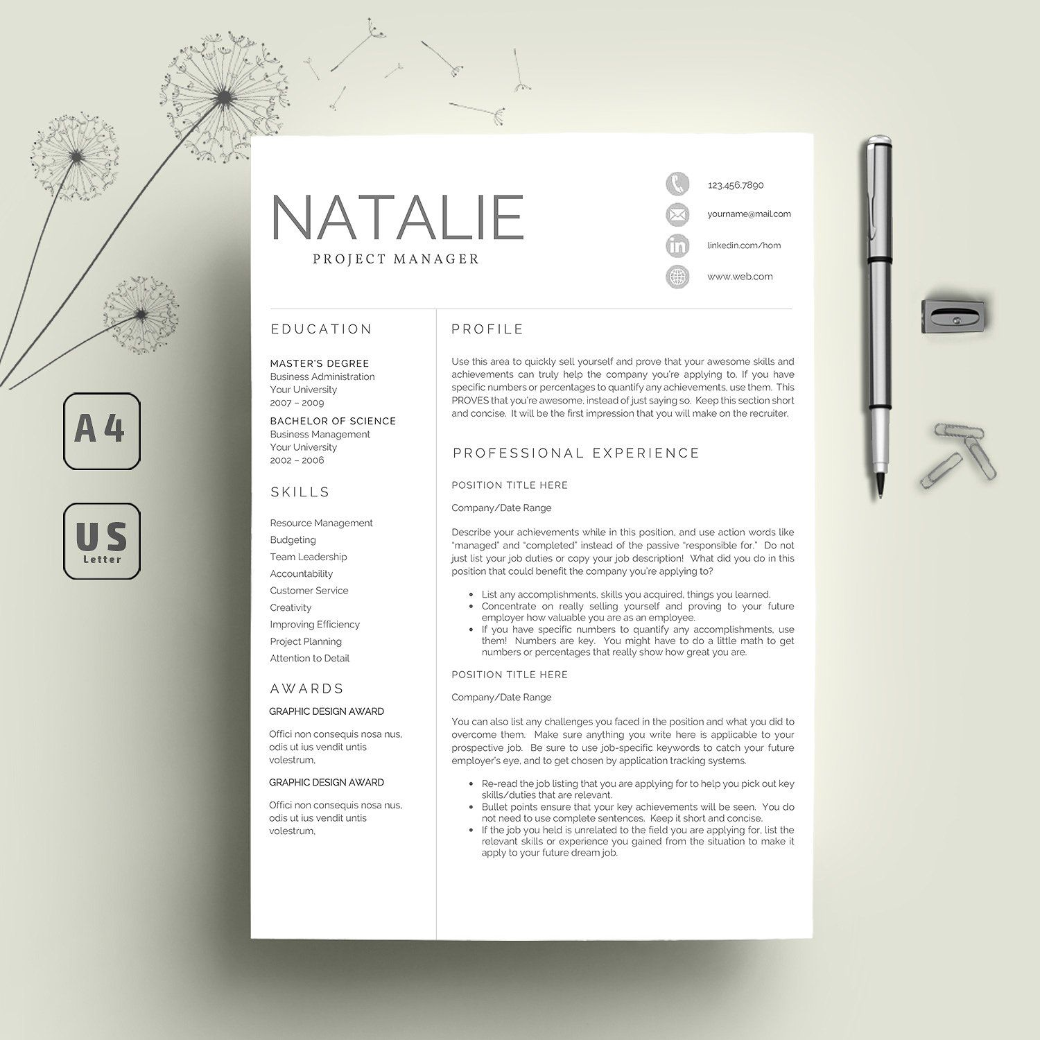 Resume Template Pages 2 Pages Professional Resume Template  Resume Professional Resume
