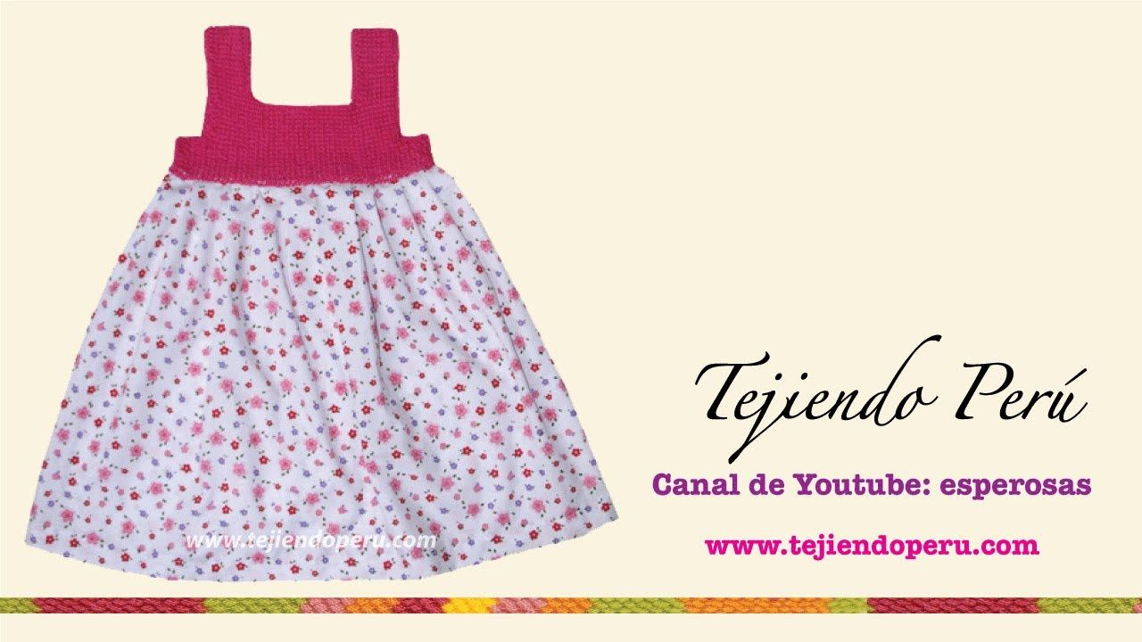Vestido con pechera en ganchillo tunecino para niñas de 6 a 10 años ...
