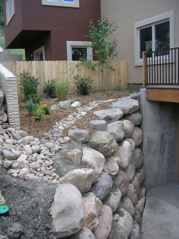 Retaining Wall And Drainage Swale For Landscaping In Durango Colorado By Gardenhart Landscape Design Landscape Design Hardscape Design Retaining Wall