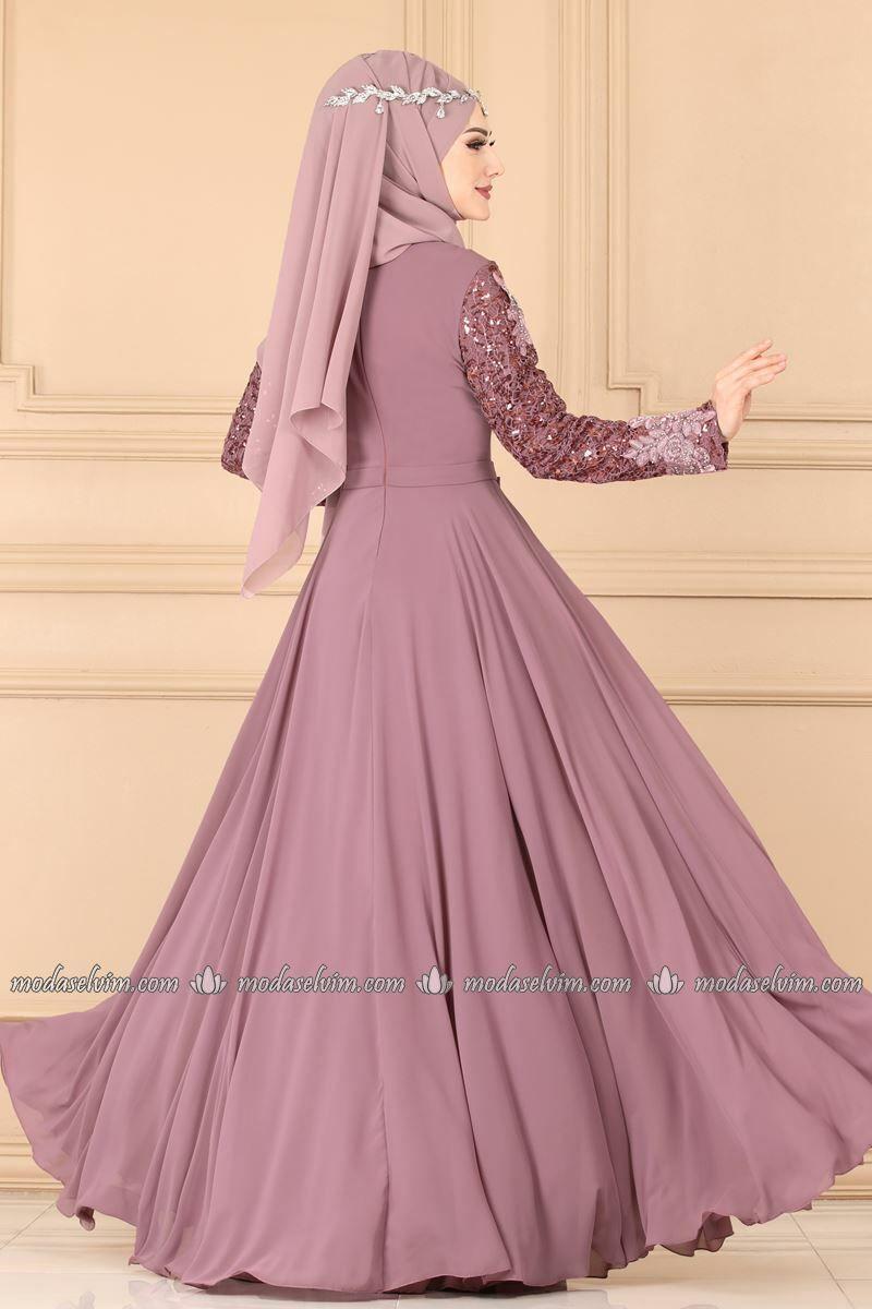 Moda Selvim Gupuru Tas Ve Incili Abiye 8922w153 Lila Model Pakaian Desain Busana Pakaian