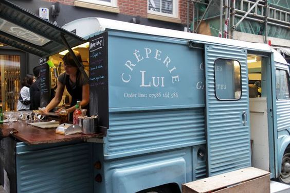 Mobile Creperie Fold down counter High end food truck concept - food truck business plan