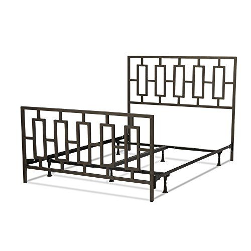 Miami Complete Bed With Squared Tube Metal Duo Panels And Geometric Design Coffee Finish King You Can Get More Detail Bed Styling Metal Beds King Metal Bed