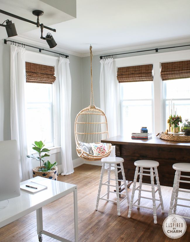 hanging chairs and taking names used a heavy duty eye hook to hang rh pinterest com Ceiling Light Hooks Ceiling Tile Hooks