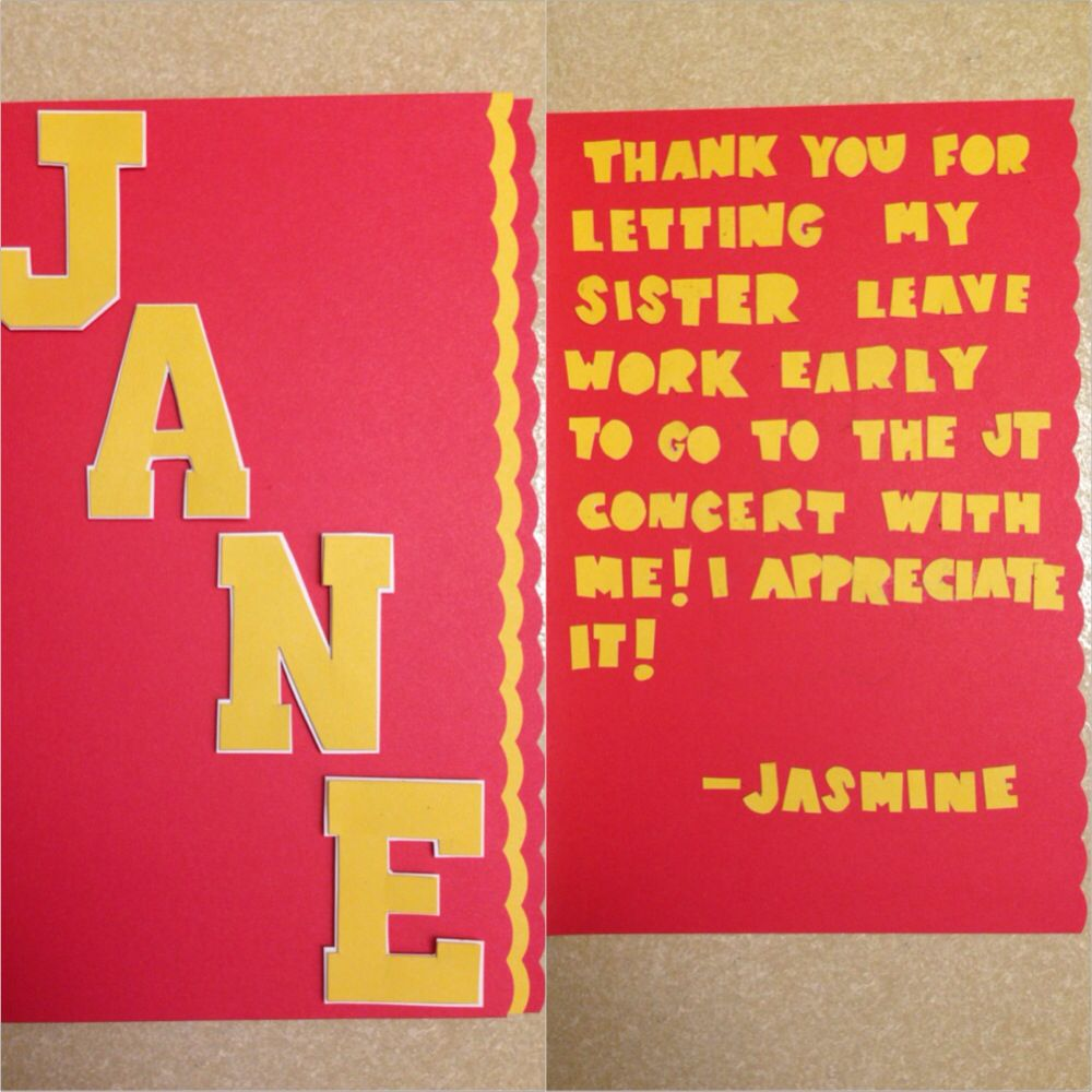 Handmade Usc Themed Thank You Card To My Sisters Boss From Me