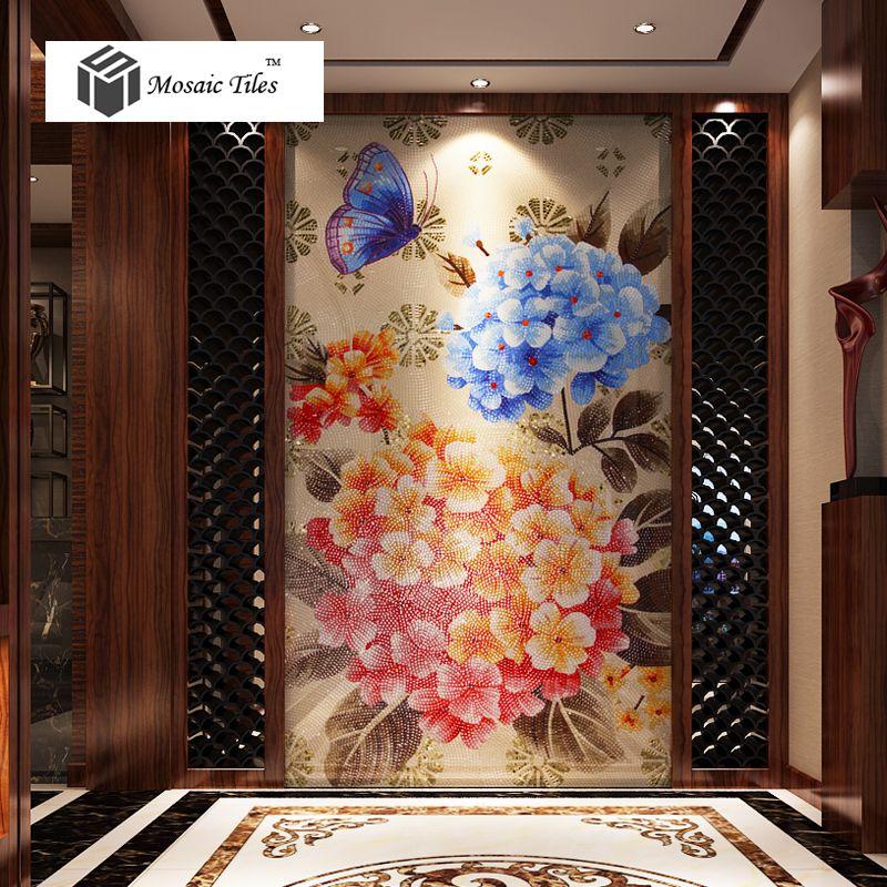 tst mosaic mural blue red pink hydrangea flower butterfly hotel studio wall deco