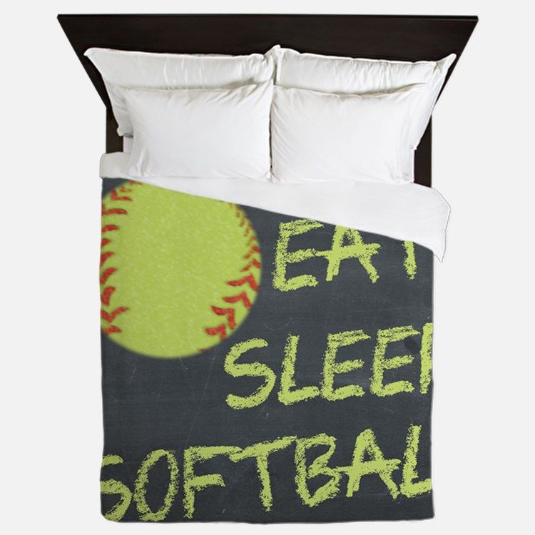Personalize your bedroom with unqiue bedding and personalized duvet covers   pillow cases  blankets   more  Shop now from over of Fastpitch Softball  printed. eat  sleep  softball Queen Duvet for   Softball Sports   Pinterest
