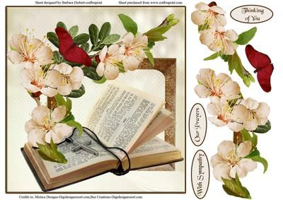 Thoughtful Reading Card Topper Decoupage on Craftsuprint - Add To Basket!