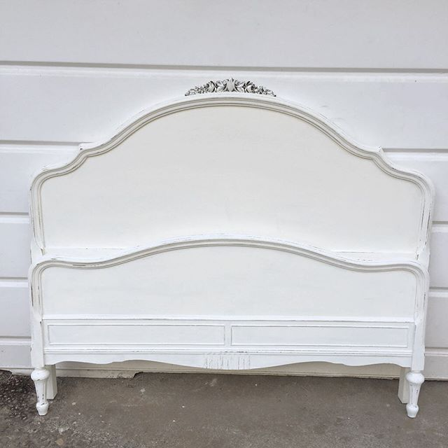 Full Size Bed Frame White Chalk Painted With Pearl Glaze Girls Bedroom Vintage Shabby Chic