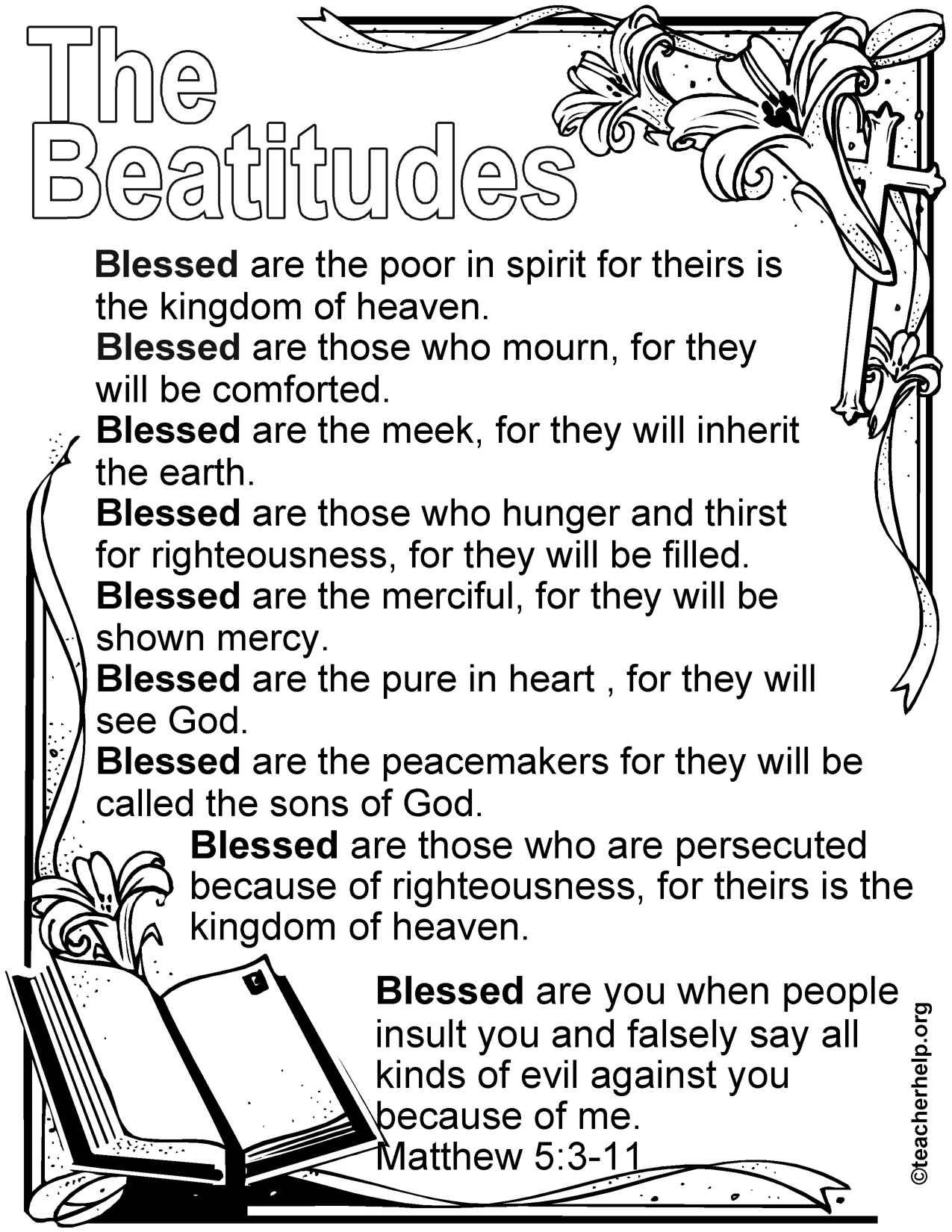 The Beatitudes Coloring Sheet | Homeschool: Bible | Beatitudes for ...
