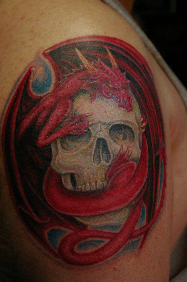 Dragon Skull tattoo by donaldpurvis on DeviantArt | Arm sleeve ideas ...