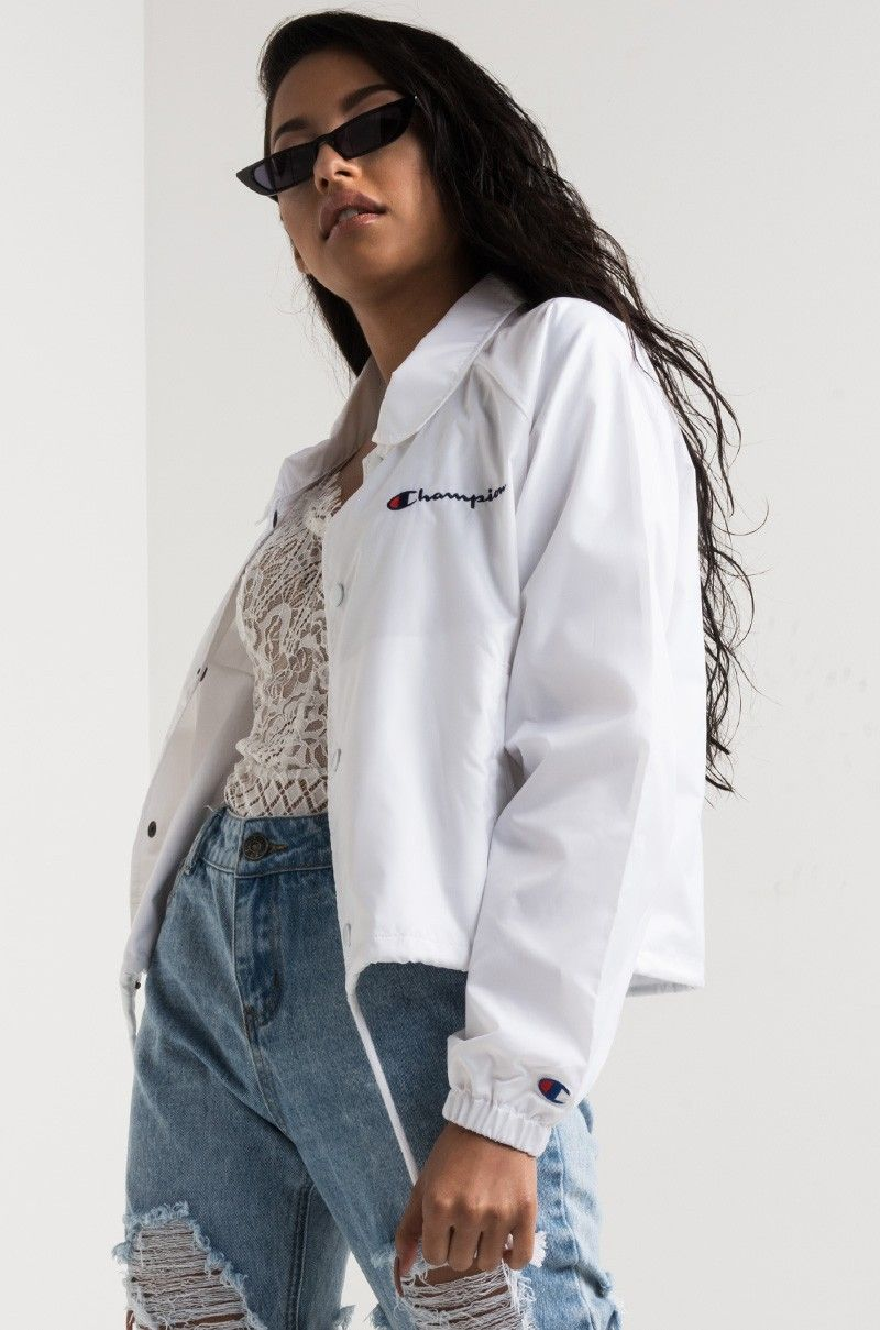 ec597e746 Side View Champion Cropped Coaches Jacket in White | Style in 2019 ...