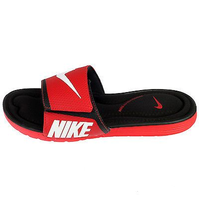 23737dfba59c7 Nike Solarsoft Comfort Slide Mens 705513-610 Red Black Sandals Slides Size 8
