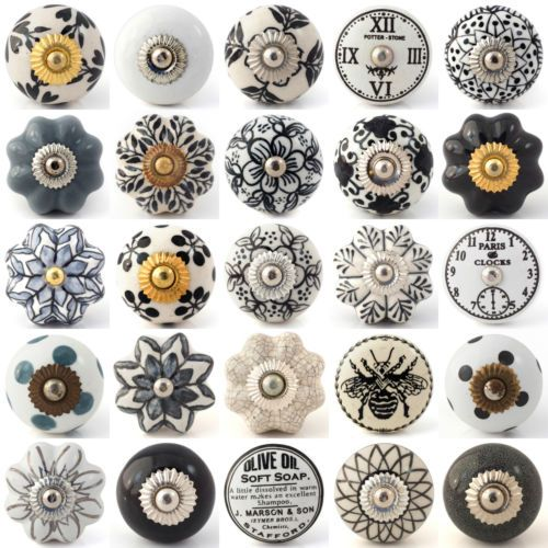 Black white grey vintage ceramic knobs drawer pull cupboard door ...