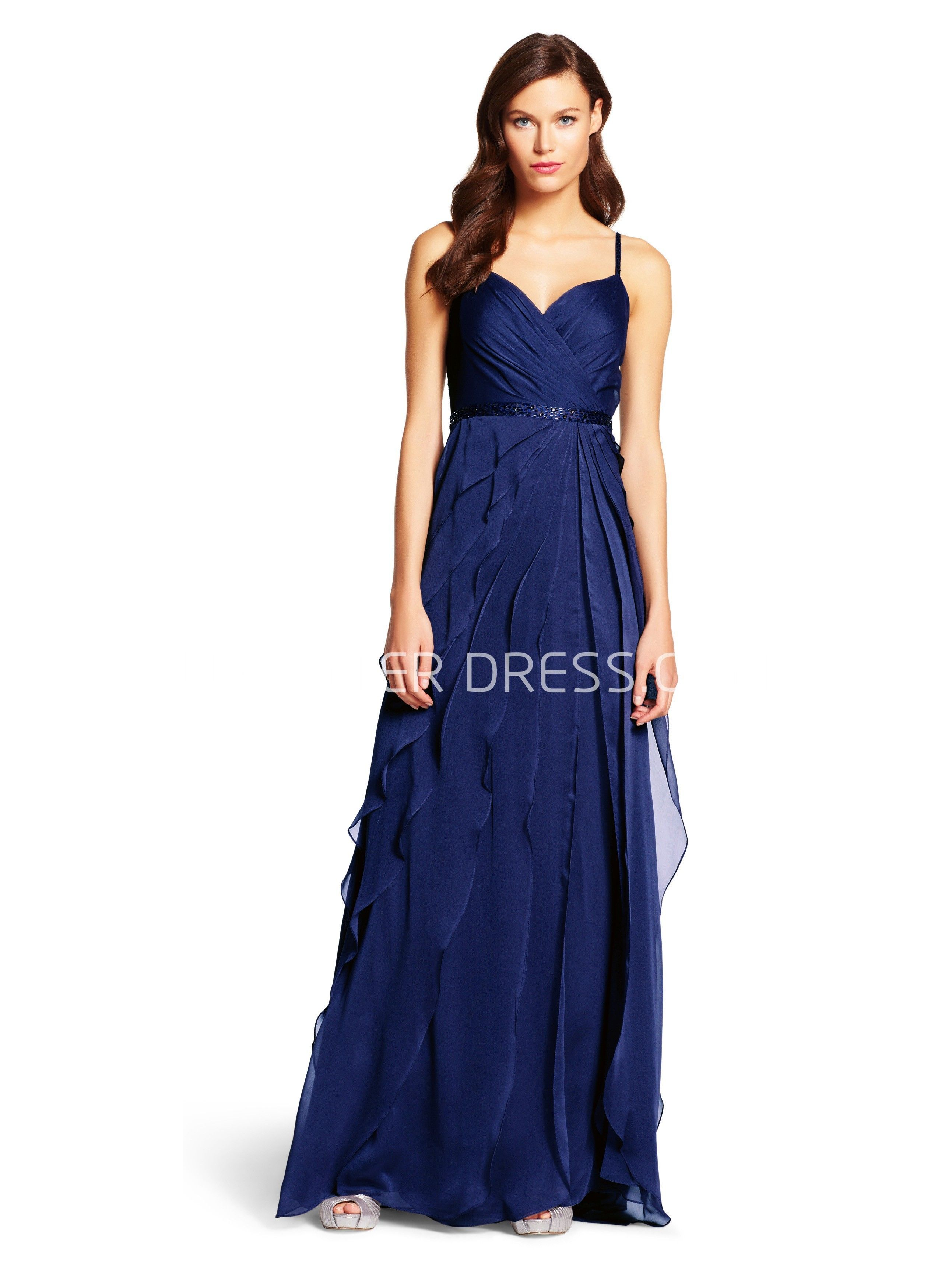 Dark blue wedding dress  ALine Ruched Spaghetti Sleeveless FloorLength Chiffon Bridesmaid