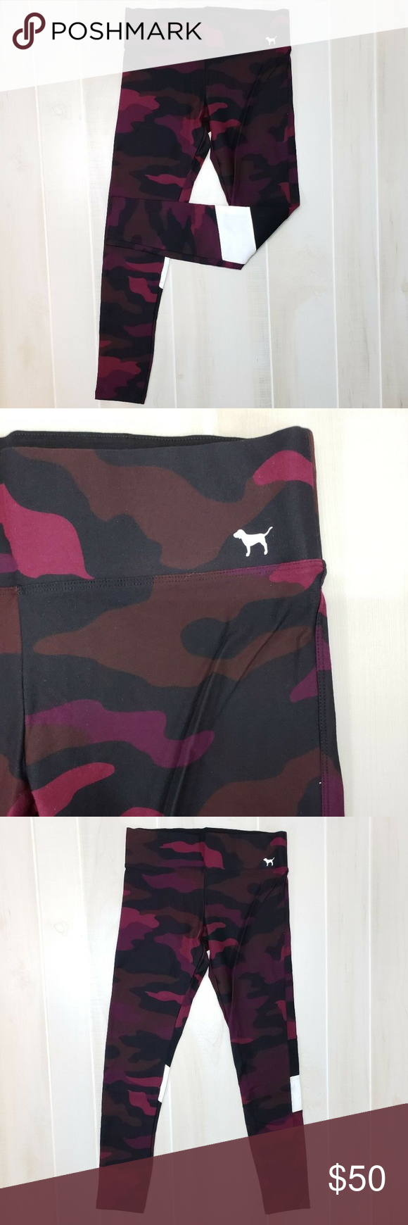 074c21d929 VS PINK Camo Leggings M ~ CF21 Victoria s Secret PINK Yoga Legging Pant  Red