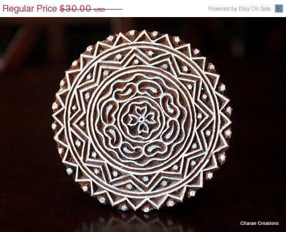 CHRISTMAS in July SALE Pottery Stamps, Indian Wood Stamp, Textile Stamp, Wood Blocks, Tjaps, Printing Stamp- Round Geometric Mandala