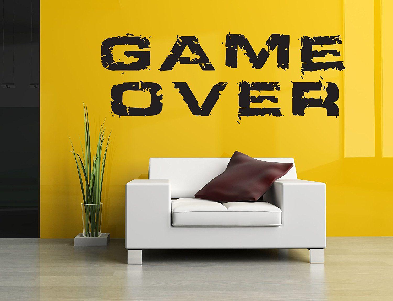 Wall Room Decor Art Vinyl Sticker Mural Decal Gamer Video Game Over ...