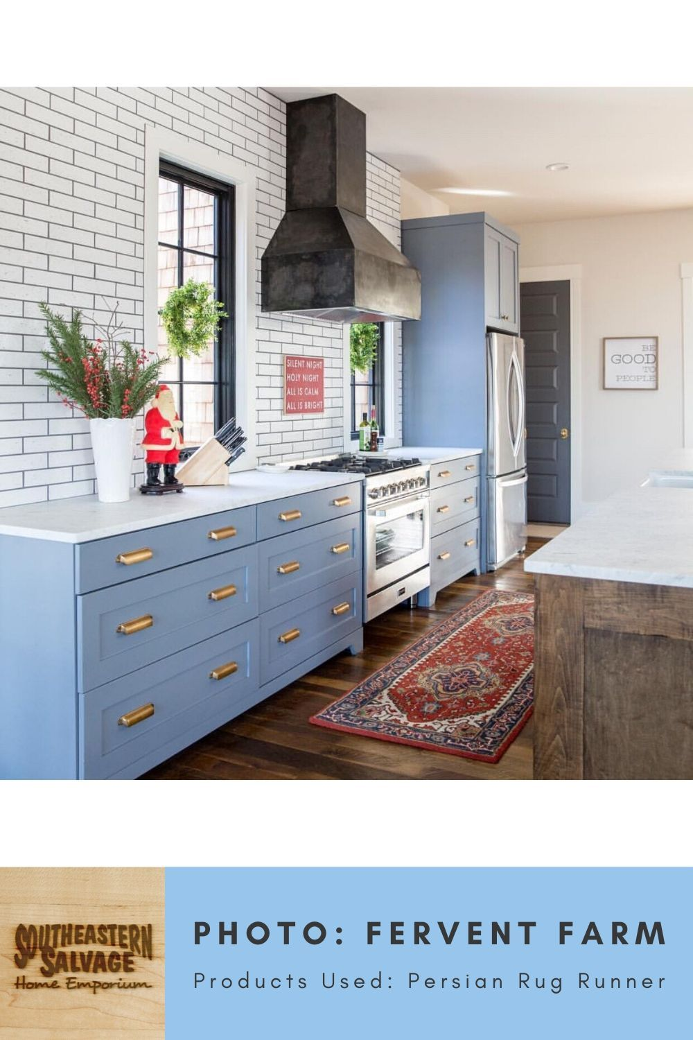 Kitchen By Fervent Farm Persian Rug Runner Southeastern Salvage Home Emporium In 2020 Kitchen Blue Cabinets Home