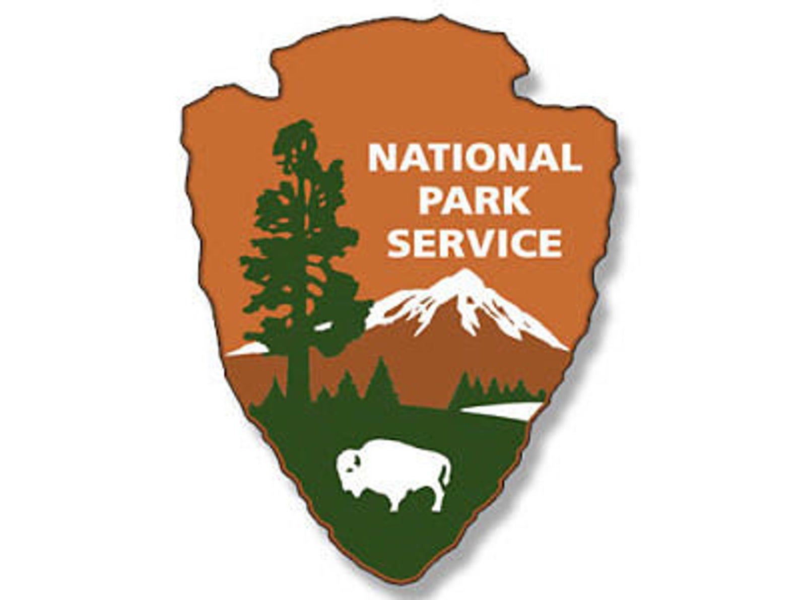 2x3 inch NATIONAL PARKS SERVICE Arrowhead Shaped Logo