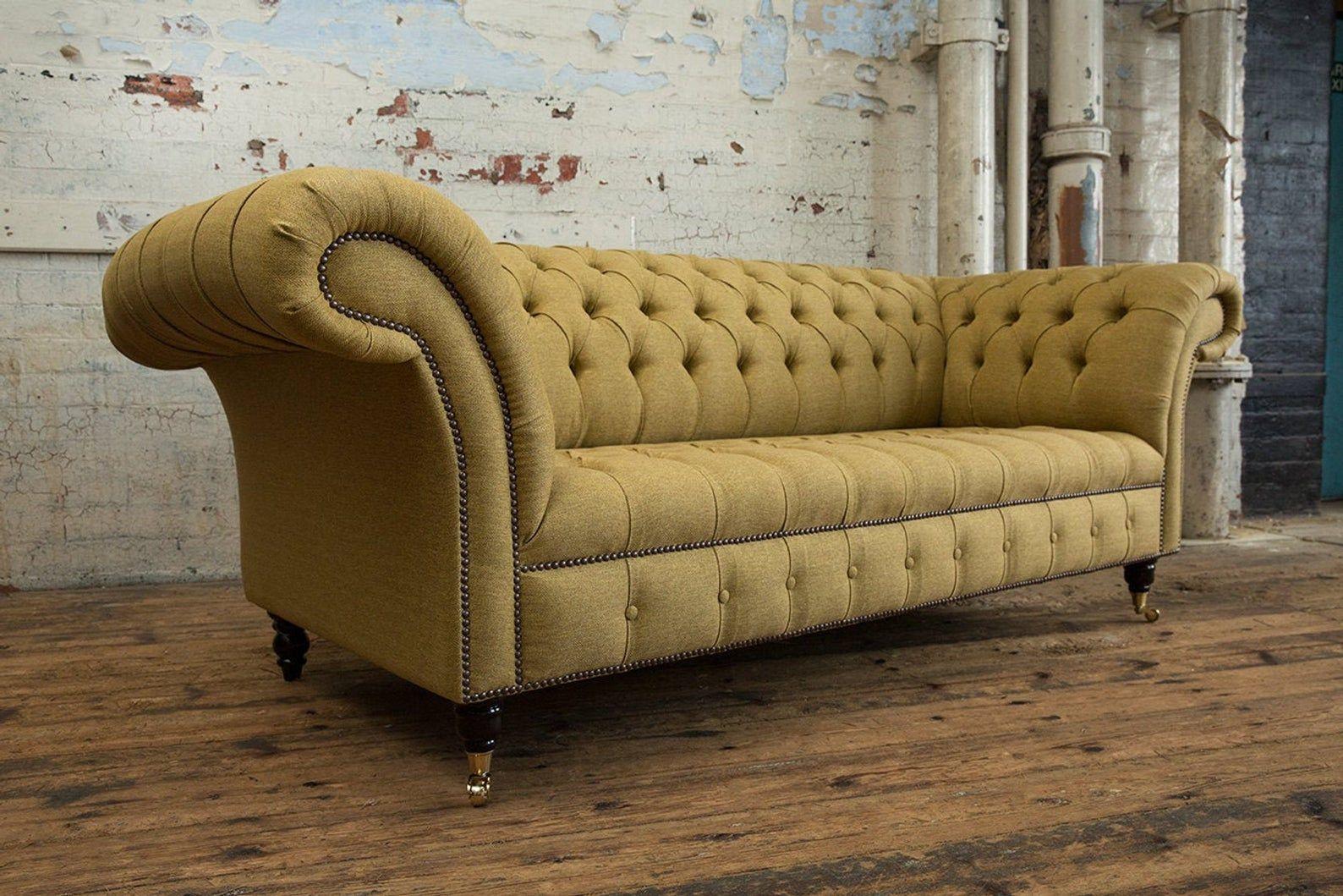 Handmade Gold Mustard Herringbone Wool 3 Seater Chesterfield Sofa Chesterfield Sofa Design Chesterfield Sofa Lovely Sofas