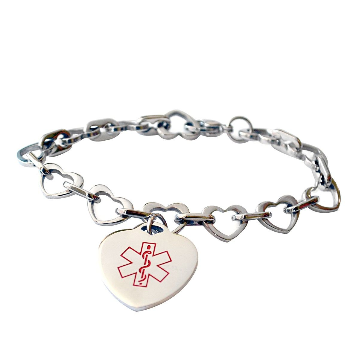e89706260854c medical id bracelet for women with heart chain design and heart ...