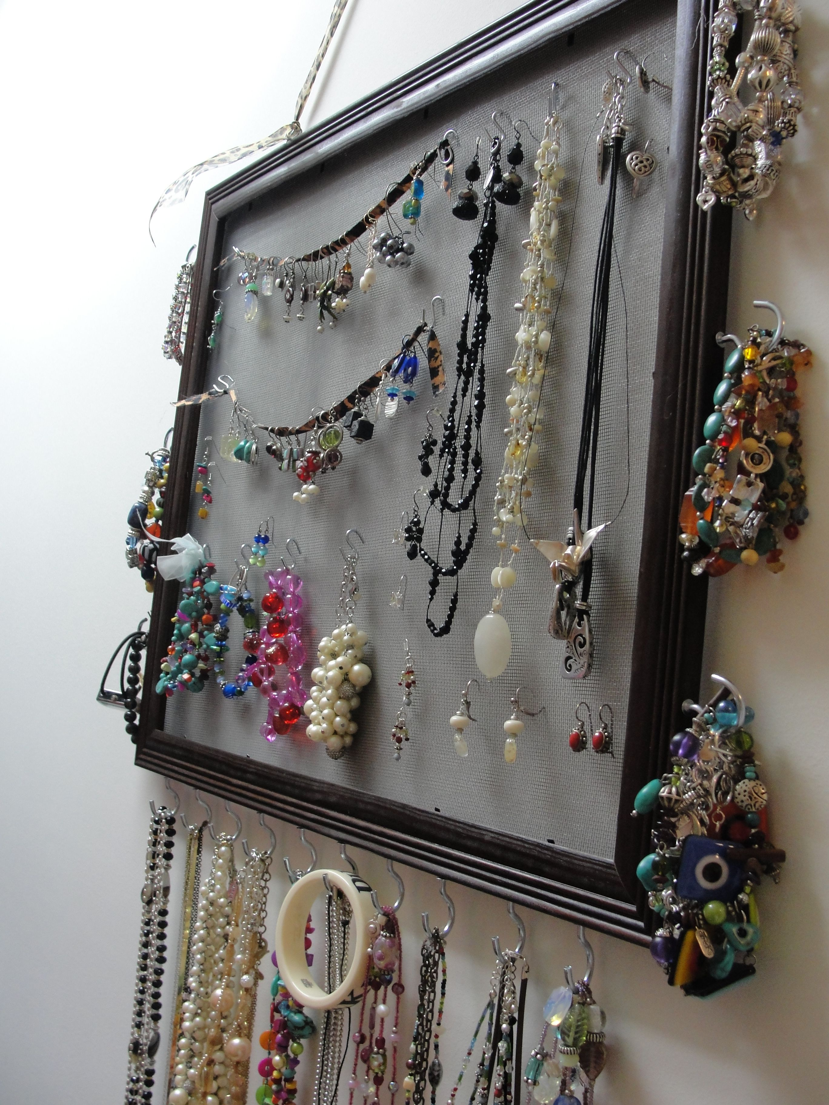 Diy Hanging Jewelry Organizer Cheap Frame Window Screen Mug