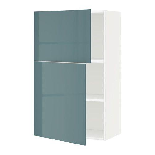 METOD Él mur tbls/2p - blanc, Kallarp brillant gris turquoise ...