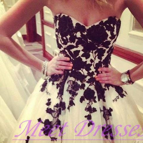 black lace homecoming dresses ball gown ivory short prom