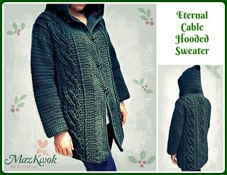 0bf20f17b674b Ravelry  Eternal Cable Hooded Sweater pattern by Maz Kwok ✉️