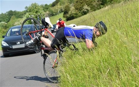 Amateur cyclist's celebrations that were his downfall - Ouch!