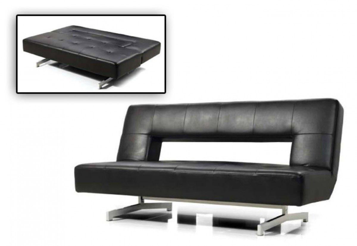 Divani casa wilshire modern foldout black leatherette sofa bed