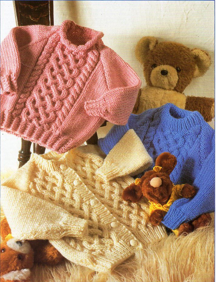 Aran Hoodie Cardigan Jacket Baby Childrens Knitting Pattern Photocopy 4 Designs