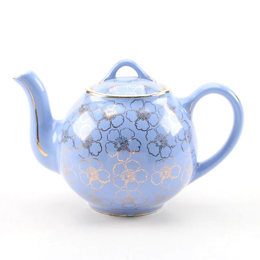 Hall Ceramic Teapot And Bauscher Bros Cobalt Porcelain Cup And Saucer In 2020 Tea Pots Ceramic Teapots Pottery Teapots