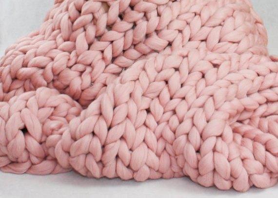 Grobstrick Strick Decke Decke Aus Merinowolle Gestrickte Decke