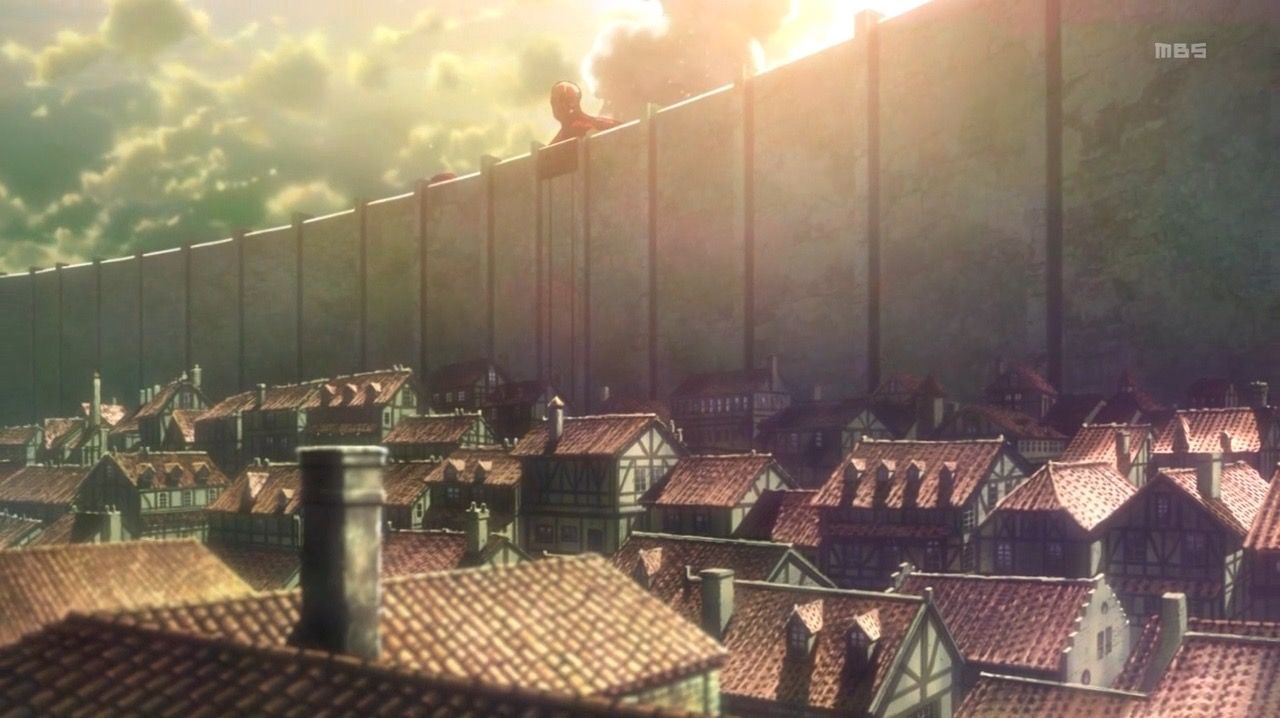 Still From Attack On Titan Basic Linear Perspective But Showing Massive Scale Through The Height Attack On Titan Episodes Attack On Titan Attack On Titan Art