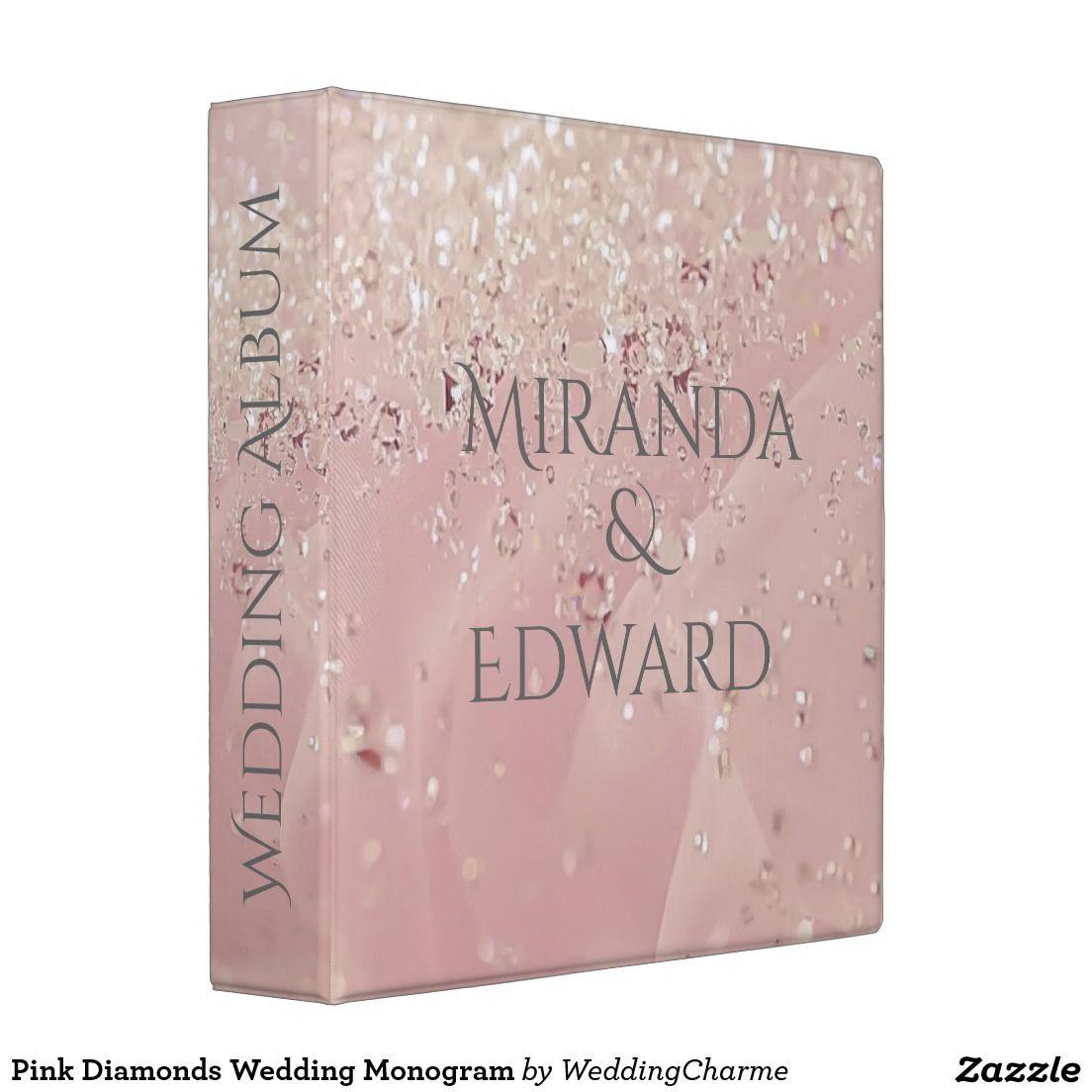 Pink Diamonds Wedding Monogram Album Binder   Pink Diamonds Wedding ...