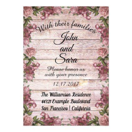Floral Pink Garden Stile Wood Wedding Invitation Floral invitation