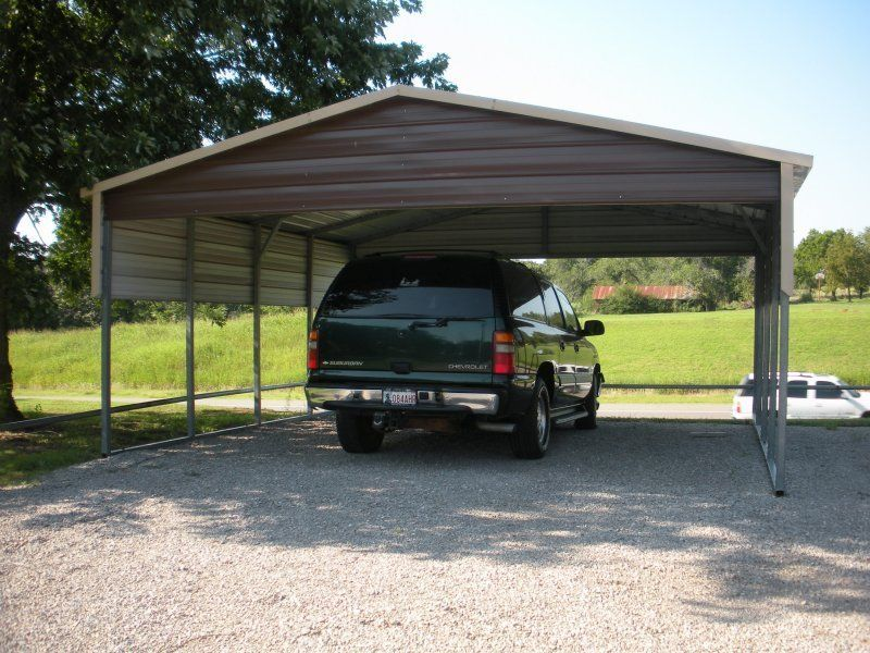 This Boxed Eave Double Carport For 2 Mid Size Cars Also Ideal For Outdoor Small Boats And Trailers Featuring 2 Fr Metal Carport Kits Double Carport Carport