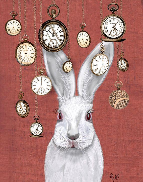 Rabbit Time, 14x11 Art Print White Rabbit Alice in Wonderland Print Illustration Rabbit Print rabbit picture rabbit art, wall decor hanging